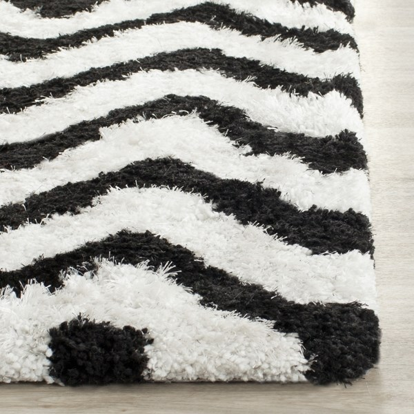 White, Black (C) Chevron Area Rug
