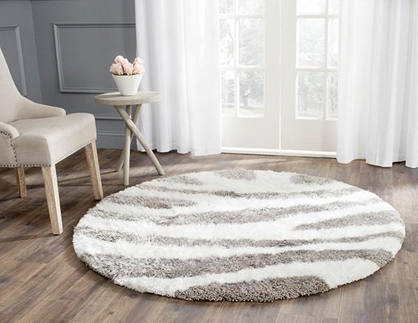 White, Silver (A) Contemporary / Modern Area Rug
