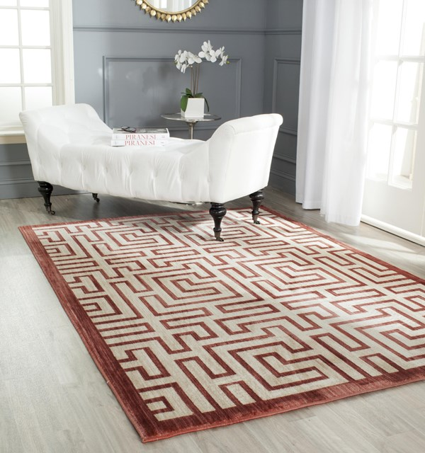 Yellow, Red (P) Contemporary / Modern Area Rug