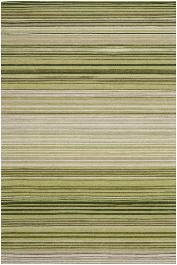 Green (A) Striped Area Rug