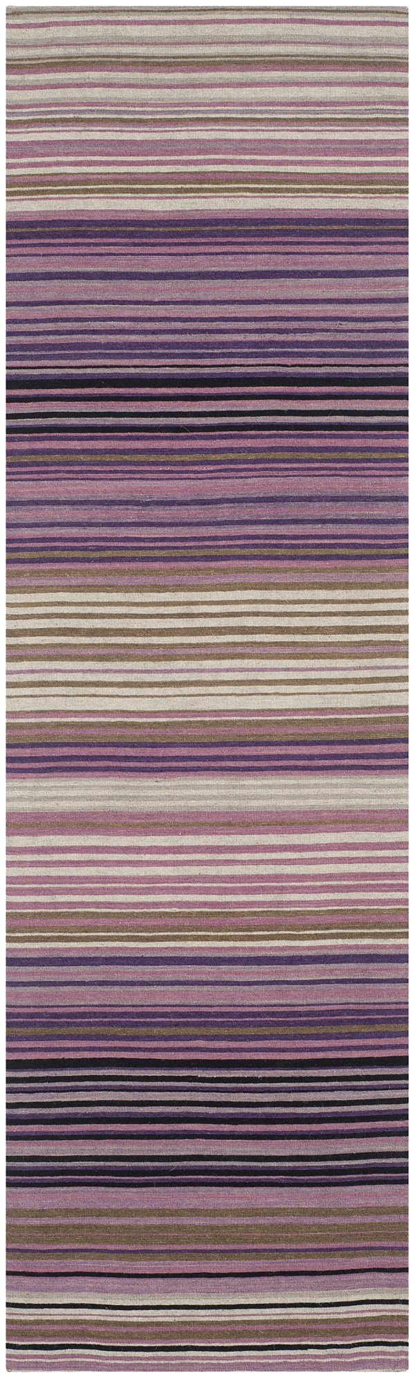 White, Lilac (A) Striped Area Rug