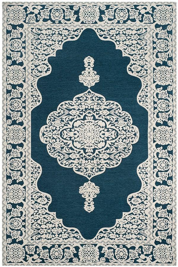 Dark Blue, Ivory (D) Traditional / Oriental Area Rug
