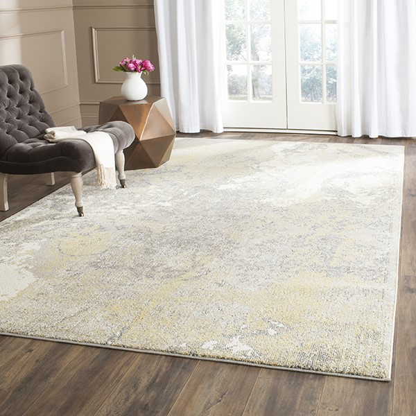 Ivory, Grey (S) Abstract Area Rug