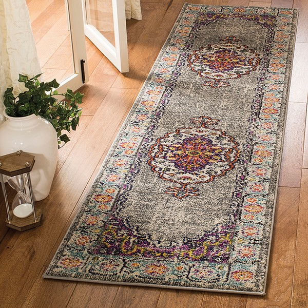 Violet, Light Blue (L) Traditional / Oriental Area Rug
