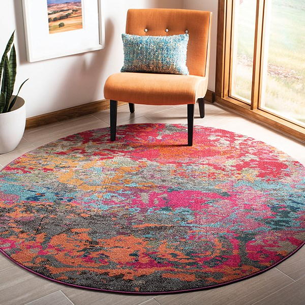 Fuchsia, Blue (R) Abstract Area Rug