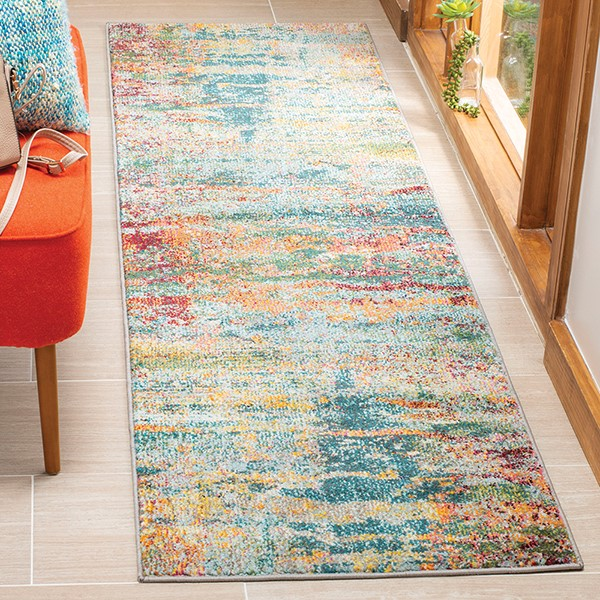 Teal, Orange (M) Abstract Area Rug