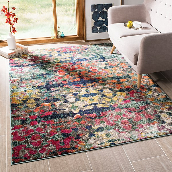 Green, Blue (Y) Abstract Area Rug