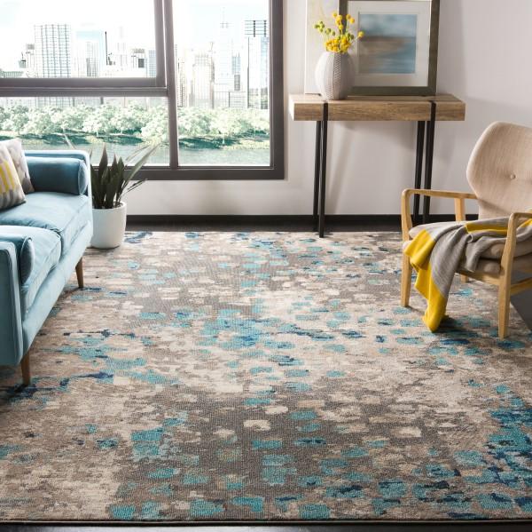 Grey, Light Blue (E) Contemporary / Modern Area Rug