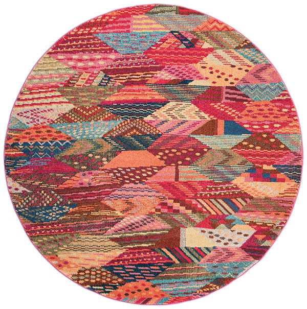 Red, Pink, Light Blue (D) Contemporary / Modern Area Rug