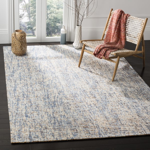 Dark Blue, Rust (C) Contemporary / Modern Area Rug