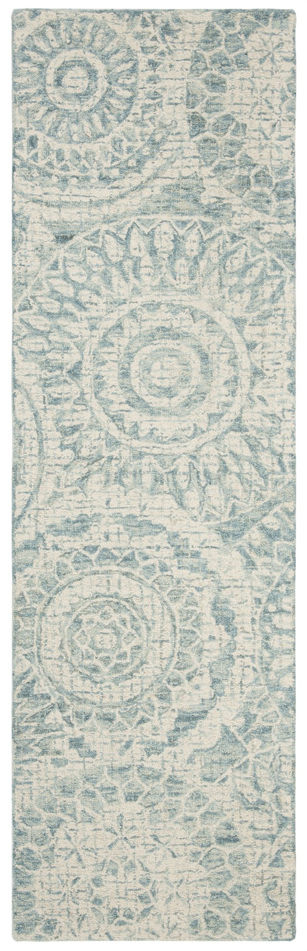 Ivory, Blue (A) Mandala Area Rug