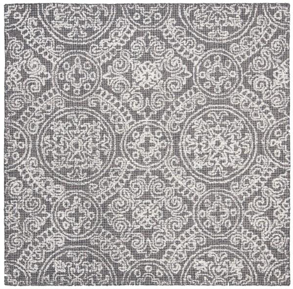 Grey, Ivory (A) Mandala Area Rug