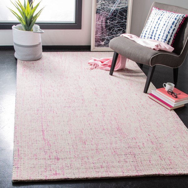 Ivory, Pink (U) Abstract Area Rug