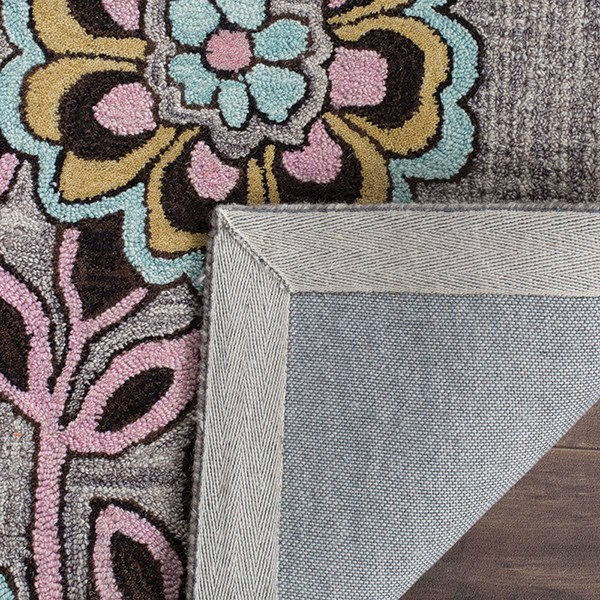Grey, Gold (A) Paisley Area Rug