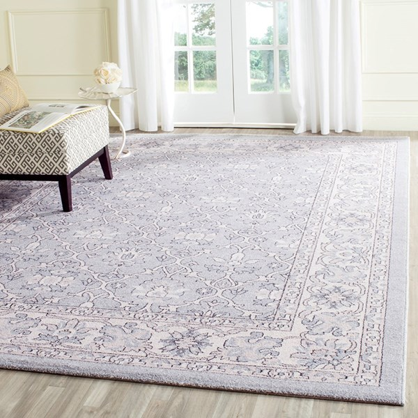Light Blue, Ivory (C) Traditional / Oriental Area Rug