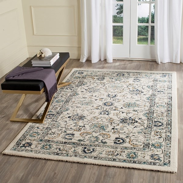Beige, Blue (A) Traditional / Oriental Area Rug