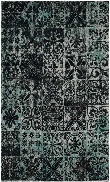 Teal, Black (A) Vintage / Overdyed Area Rug
