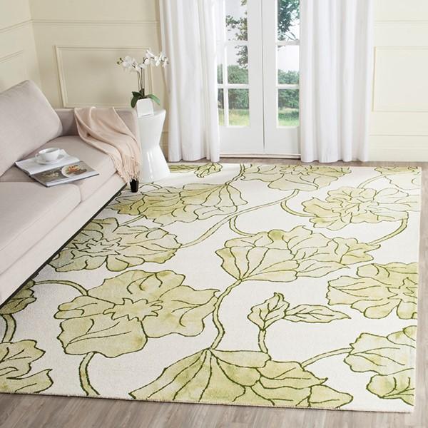 Ivory, Light Green (B) Floral / Botanical Area Rug