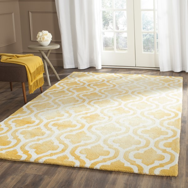 Gold, Ivory (H) Contemporary / Modern Area Rug
