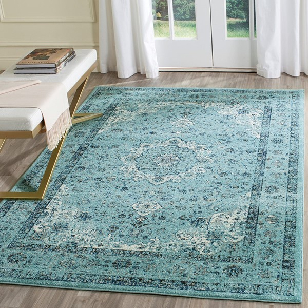Light Blue, Light Blue (E) Rustic / Farmhouse Area Rug