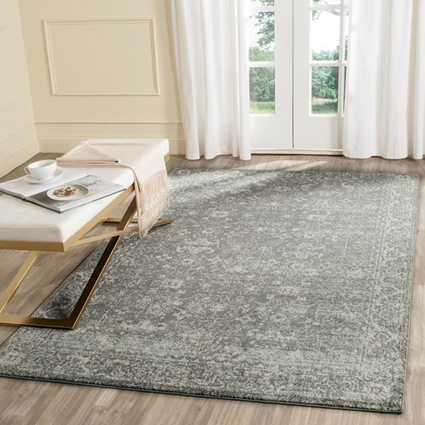 Grey, Ivory (S) Traditional / Oriental Area Rug