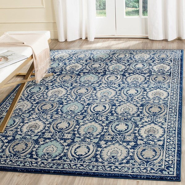 Blue, Ivory (C) Traditional / Oriental Area Rug