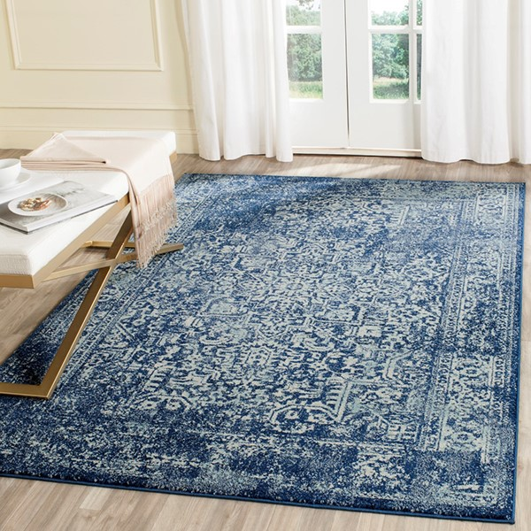 Navy, Ivory (A) Vintage / Overdyed Area Rug