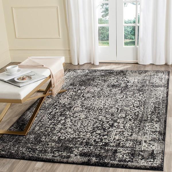 Black, Grey (R) Vintage / Overdyed Area Rug