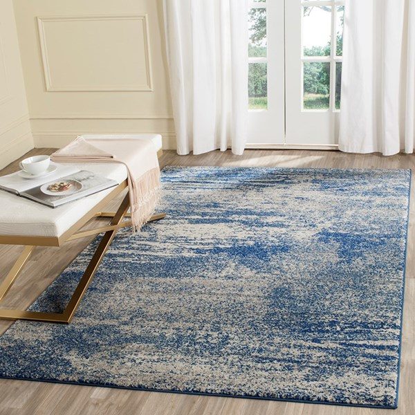 Navy, Ivory (A) Contemporary / Modern Area Rug