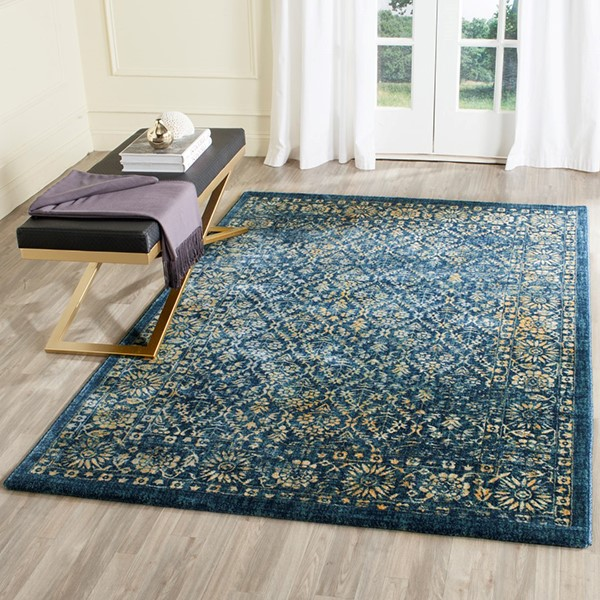Navy, Gold (A) Traditional / Oriental Area Rug