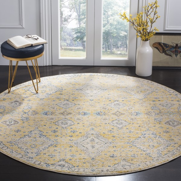 Gold, Ivory (B) Traditional / Oriental Area Rug