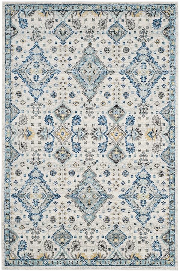 Ivory, Light Blue (C) Traditional / Oriental Area Rug