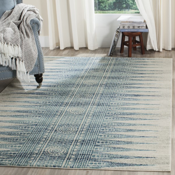 Ivory, Turquoise (T) Moroccan Area Rug