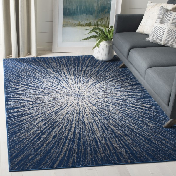 Navy, Ivory (N) Contemporary / Modern Area Rug