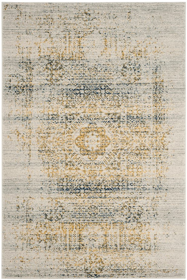 Ivory, Blue (C) Traditional / Oriental Area Rug