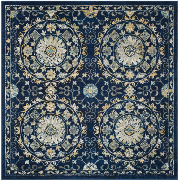 Navy, Ivory (A) Transitional Area Rug