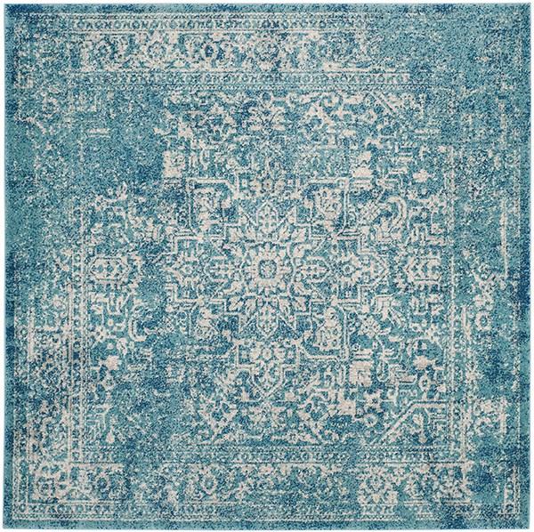 Blue, Ivory (C) Rustic / Farmhouse Area Rug