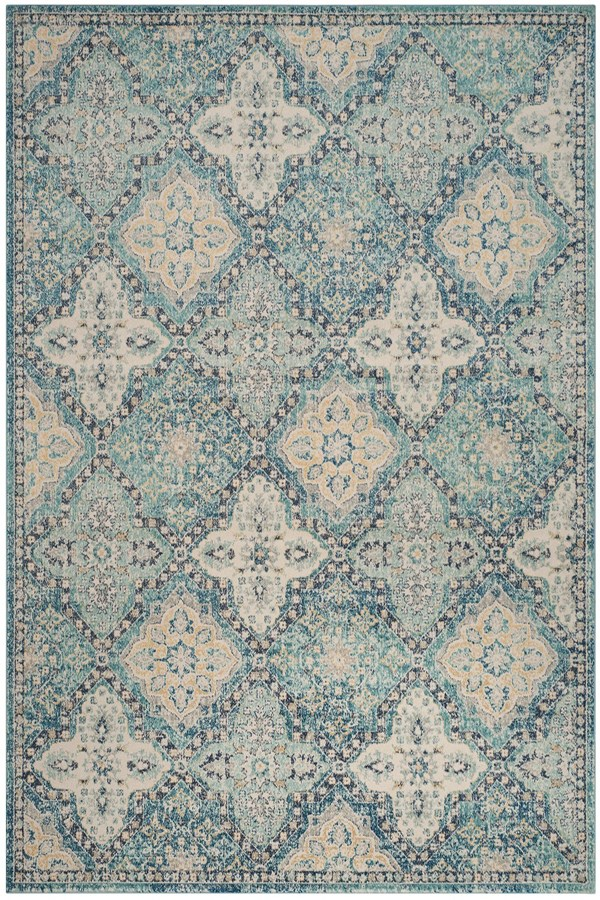 Light Blue, Ivory (C) Rustic / Farmhouse Area Rug