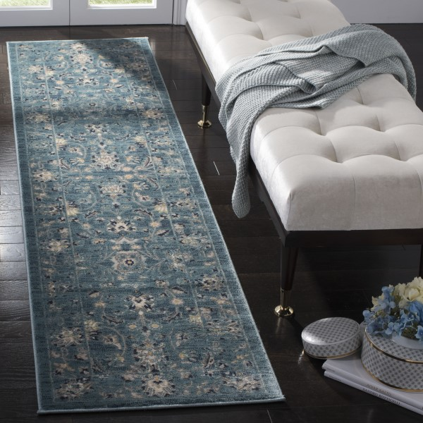 Turquoise, Beige (G) Traditional / Oriental Area Rug