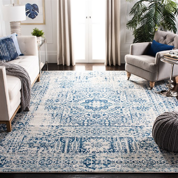 Ivory, Blue (C) Transitional Area Rug