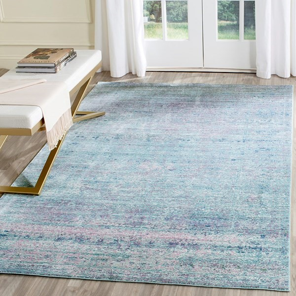 Purple, Blue (K) Contemporary / Modern Area Rug