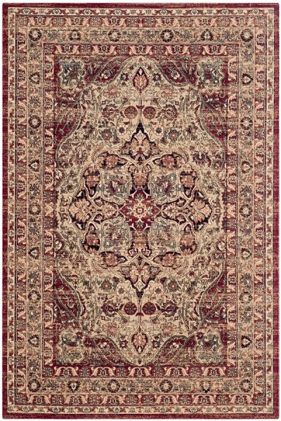 Cream, Red (B) Traditional / Oriental Area Rug