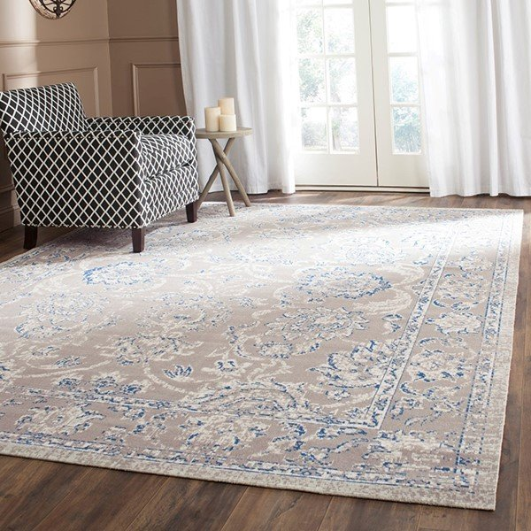 Taupe, Blue (B) Traditional / Oriental Area Rug