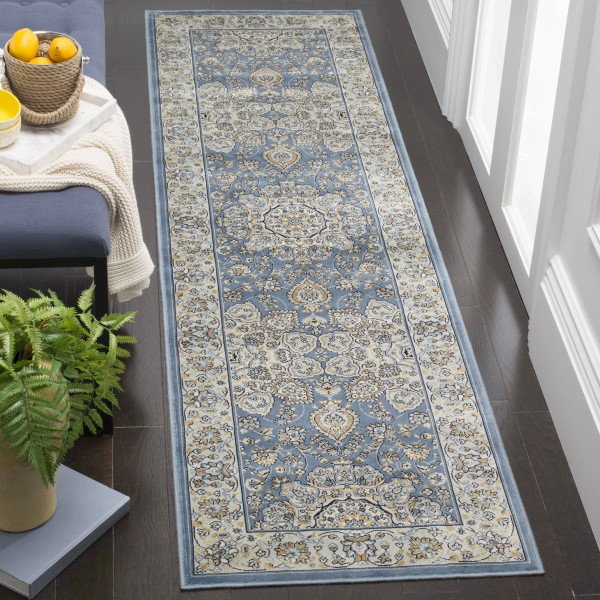 Navy, Khaki, Light Blue (N) Traditional / Oriental Area Rug