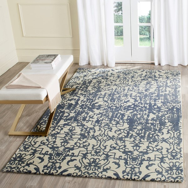 Ivory, Blue (A) Transitional Area Rug