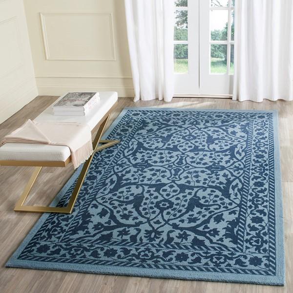 Blue, Dark Blue (E) Traditional / Oriental Area Rug