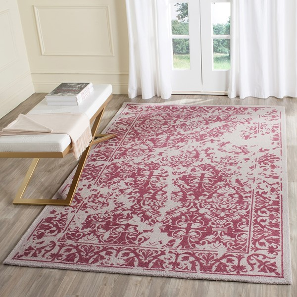 Silver, Purple (J) Traditional / Oriental Area Rug