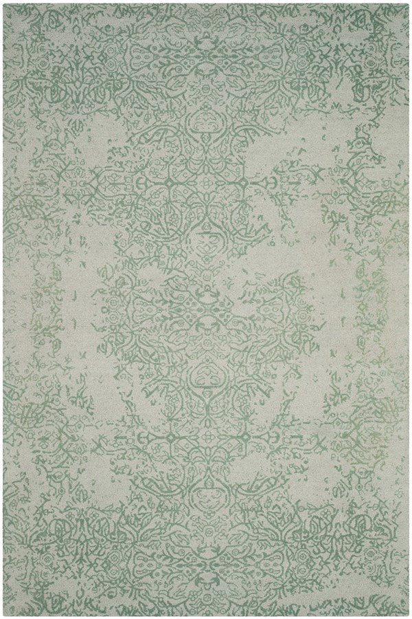 Grey, Turquoise (C) Traditional / Oriental Area Rug