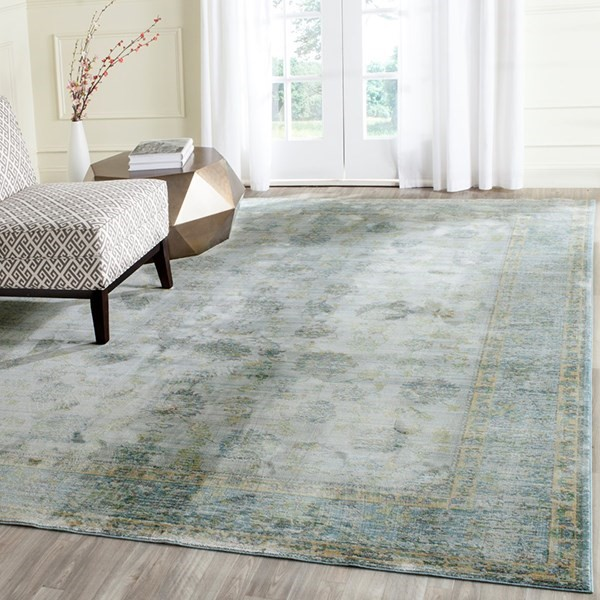 Light Blue, Turquoise (G) Traditional / Oriental Area Rug