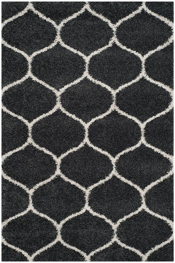 Dark Grey, Ivory (G) Transitional Area Rug